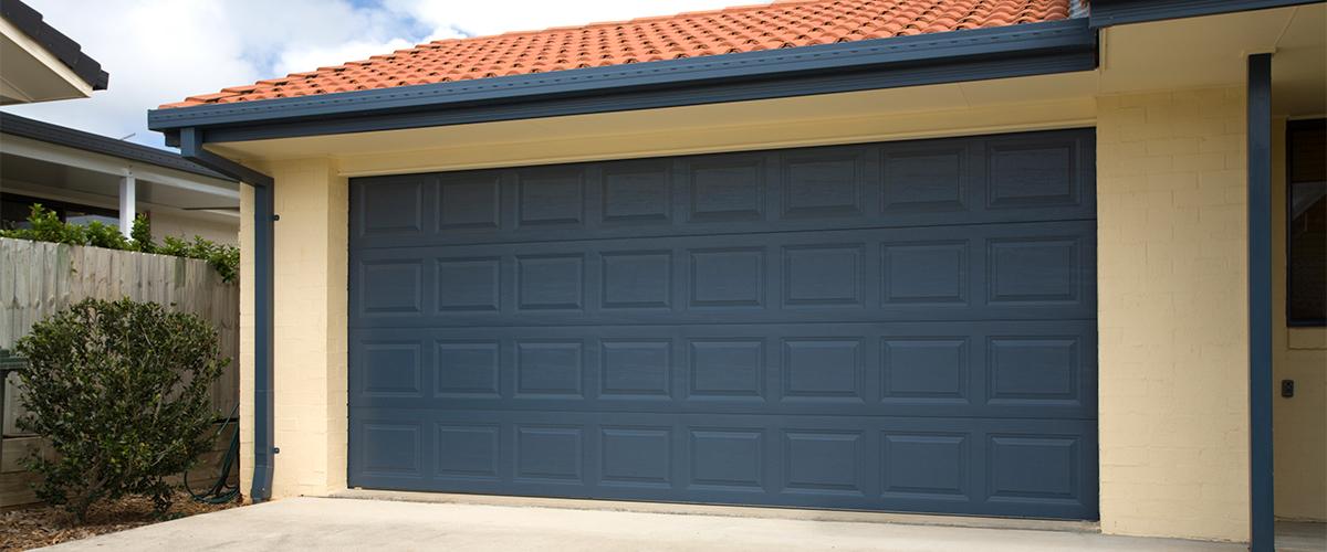 dark blue large garage door